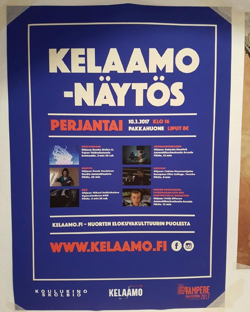 Passit saatuamme oli aika ripustaa Kelaamo-näytöksen juliste ympäri kaupunkia. Hienon julisteen meille suunnitteli Sami Viljanto.